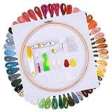 Kreuzstich Tool Kit, Full Range der Stickerei Starterkit inkl. 25,4cm Bambus Stickrahmen, 50Farbe Threads, 12von 18Classic Reserve Aida- und Werkzeug-Set mit Maßband und Nadeleinfädler