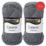 Schachenmayr Catania – 2 Knäuel Catania Wolle stein (Fb 242) mit GRATIS MyOma Label - Graue Baumwolle Catania Schachenmayr Set – Schachenmayr Wolle zum Häkeln und Stricken
