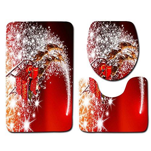 LoveLeiter 3PCS Weihnachten WC-Set WC Cover Dekorationen Badezimmer Faltbare Toilettensitze für Kinder/Baby Tragbarer Reise WC Sitz Kleinkind Töpfchen mit Aufbewahrungstüte ()