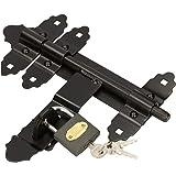 KOTARBAU® deurgrendel 200 / 12 mm met hangslot, boutvergrendeling, duwbeugel, zwart, gepoedercoat, deurslot, deurgrendel