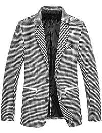 8fddd8688f9a Rera Homme Costume Élégant à Carreaux Pied-de-Poule Slim Fit Outwear  Occasionnel avec Poches Boutonnée Manches…