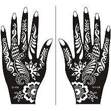 Mehndi Tatouage Pochoir pour la main Mehndi Tatouages au henné - à usage unique S113 - pour tatouage au henné, tatouage paillettes et aérographe tatouage