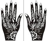 Mehndi Schablone 2er Set Henna Designs zur einmaligen Verwendung S113 für Linke und Rechte Hand auch für Glitter Tattoo und Air Brush Tattoo geeignet