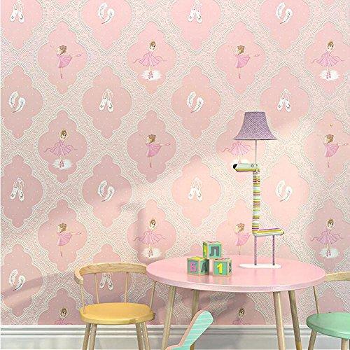 AIEK Kinderzimmer Tapete Cartoon Ballerina Mädchen Rosa Lila Prinzessin Haus Floral Vlies Tapete, Light pink b Paragraph 71121