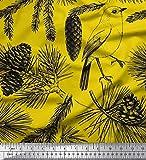 Soimoi Grun Baumwoll-Popeline Stoff Dreieck & Banane Obst