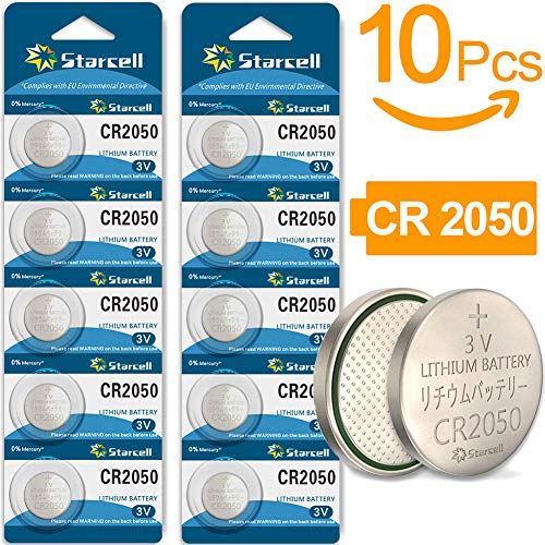 10 x CR2050 3 V Lithium Button Cell 3 mAh (Blister Ercard 5 Batteries Pack of 10)