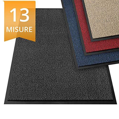 Zerbino ingresso esterno - interno, tappeto asciugapassi - tappeto entrata casa, antiscivolo - antracite - 90x120 cm
