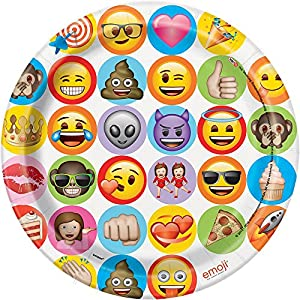Unique Party 50915celebración Emoji platos de papel para fiesta, pack de 8