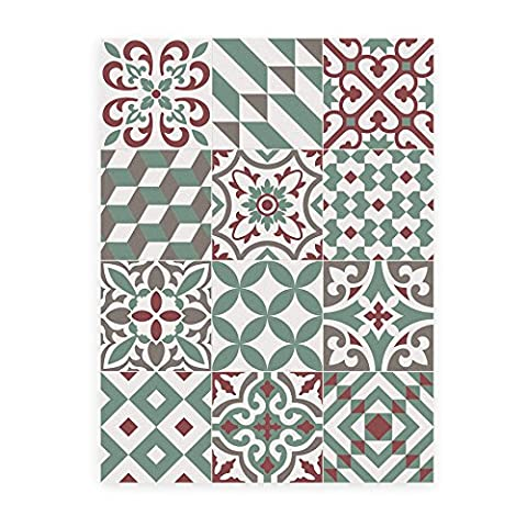 KITCHEN VINYL MAT. Barcelona's modernist hydraulic floor at your house. Eclectic Garnet 60x80cm or 23,6x31,5 inch. Mat very easy to clean with a mop. Made in