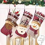 Calza di Natale Decorazioni Natalizie, Set da 3 Pezzi Sacchetto Regalo di Natale Babbo Natale Pupazzo di Neve Alce Sacchetto di Caramelle, Camino Calza di Natale con Gancio in Metallo, 45cm