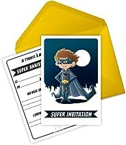 6 cartes invitation anniversaire et enveloppes inspirées de Batman - Bat le Super-Heros (en français)
