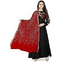Rj14 Lifestyle Art Silk Embellished Women's Dupatta Bandhani Bandhej Jaipuri Rajasthani Dupatta (red)