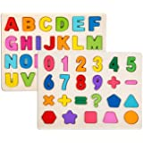 LazyToddler Educational Wooden Alphabets and Number-Shape Board for Kids (Alphabet & Number-Shape Set)