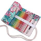 abaría Bolso para lápices, estuche enrollable para 48 lapices colores, portalápices de lona, bolsa organizador lápices para infantil adulto, hoja 48