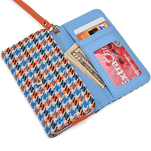 Kroo Transport Wallet Wristlet Étui pour Samsung Galaxy Trend Plus/Ace 3/Xcover 2 Blue Houndstooth and Blue Blue Houndstooth and Orange
