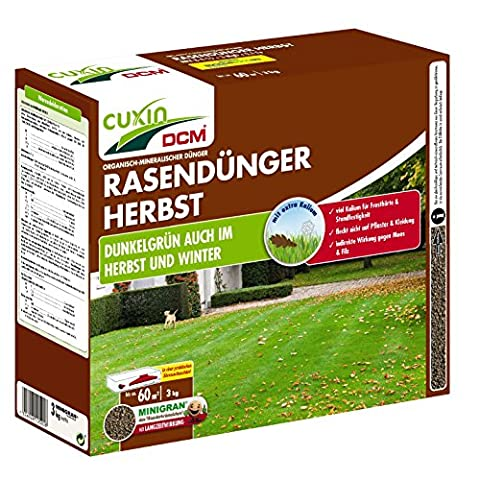 CUXIN DCM Rasendünger HERBST 3 kg Herbstrasendünger 60 m²