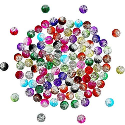 200 Stück 8 mm Crackle Glasperlen Bunte Crackle Perlen Gemischt Risse Glas Rund Perlen für Schmuckmachen und Handwerk