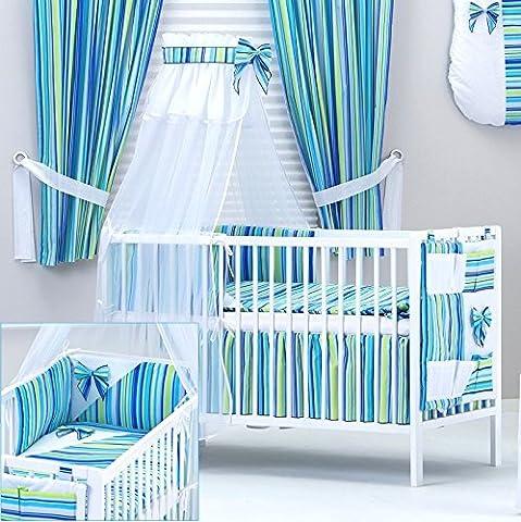 Set de linge lit bébé 9 pcs: tour de lit, ciel de lit, gigoteuse, nid d
