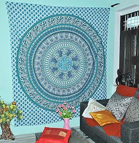 Kaleidoskopische Indische Ethnische Elefanten Tapisserien Blaue Grüne Pfau Hippie Hippie Mandala Baumwolle Tapisserie Wandbehänge Wurf 84x90