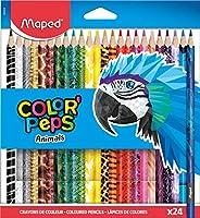Maped - Crayons de Couleur Color'Peps Animals - crayon Triangulaire Ergonomique aux Couleurs Vives - Confo