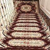 Liveinu Selbstklebend Stufenmatten Treppen Teppich Halbrund Waschbar Starke Befestigung Anthrazit Klassisch Treppen-Matten 24x65cm (15 Stück) Kaffee 2