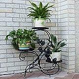 HLC Bastidor para macetas - Soporte metálica para hierbas y flores,diseño tradicional,color negro