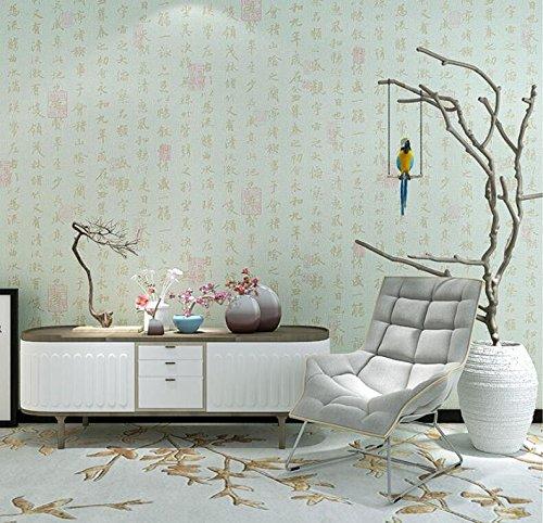Cczxfcc Neue Chinesische Flachs Kalligraphie Wohnzimmer Tv Hintergrundbild Klar Rein Non-Woven Kaffee Wallpaper. Grün -