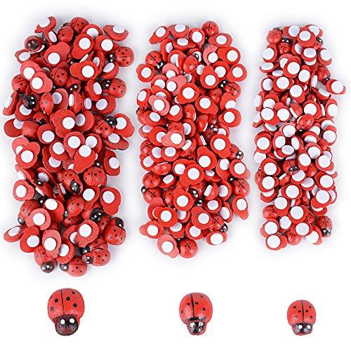 300pcs Mariquitas Decorativas Adhesivos Mini Escarabajos Madera Decoración Regalos Plantas Jardín Manualidades...