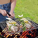 WolfWise Grillkorb Fischbräter, Gemüsekorb Burger Grillwender, Grillrost Grill Basket mit Holzgriff, aus 430 Edelstahl Abziehbar