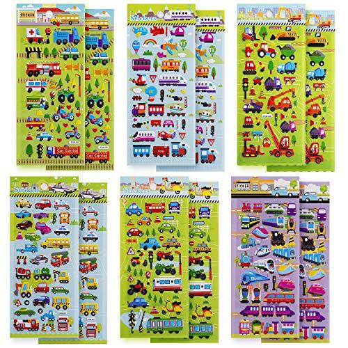 für Kinder, 400+ Aufkleber für PKW und LKW, 3D Puffy Aufkleber, einschließlich Autos, Züge, Flugzeuge, Feuerwehrautos, Hubschrauber, Motorräder, Schulbusse, Raumschiffe und mehr ()
