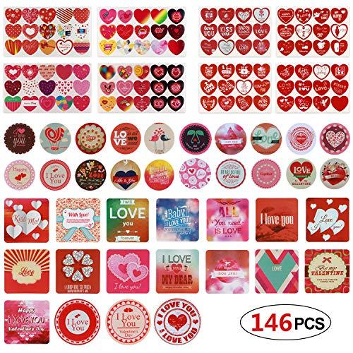 Phogary Herz-Aufkleber Aufkleber Selbstklebende Etiketten Herzförmige dekorative Abziehbilder für die Hochzeit Valentinstag Vorräte