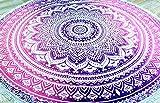Guru-Shop Rundes Indisches Mandala Tuch, Tagesdecke, Picknickdecke, Stranddecke, Tischdecke - Weiß/pink, Rosa, Baumwolle, Bettüberwurf, Sofa Überwurf