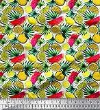 Soimoi Weiß Georgette Viskose Stoff Blätter, Zitrone in