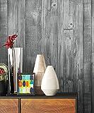 NEWROOM Holztapete Tapete Schwarz Holzbalken Holz Landhaus Vliestapete Vlies moderne Design 3D Optik Holztapete Holzwand Naturholz Holzpaneele Vintage inkl. Tapezier Ratgeber