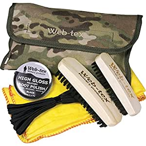Web-Tex Military Boot Care Cleaning Kit 2 Brushes Polish Laces Original Multicam
