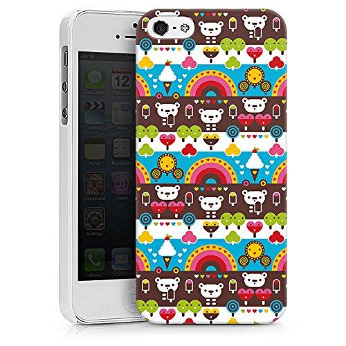 Apple iPhone X Silikon Hülle Case Schutzhülle Regenbogen Herzen Süßigkeiten Hard Case weiß