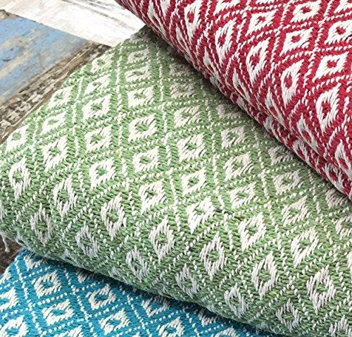 Small Fair Trade Diamond Weave Throw Bedcover Blanket 130cm x 180cm (Green)