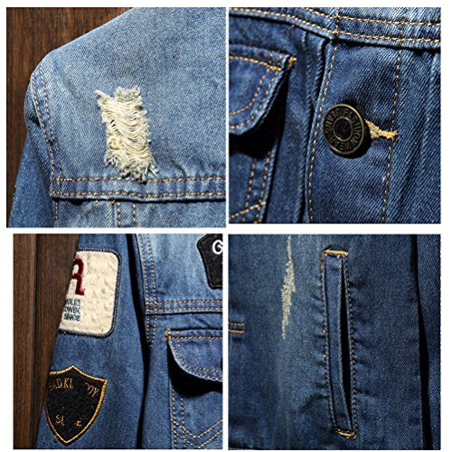 Zhhlaixing Doux confortable Mens Spring Summer Classic Denim Coat Jacket Turn Down Collar Size XL-5XL Light Blue