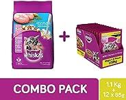 Whiskas Kitten Combo Pack of Dry Food (Ocean Fish, 1.1 kg) & Wet Gravy (Chicken, 85g, 12 pouches)