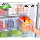 QUICK UNBOX 4 Pcs Plastic Fridge Organizers Storage Box Kitchen Freezer Containers Food Basket Set for Vegetables, Fruits, Fish, and Egg with Airtight Lid and Handle