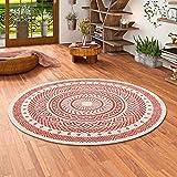 Modern Flachgewebe Ruggy Mandala Terrakotta Rund in 4 Größen