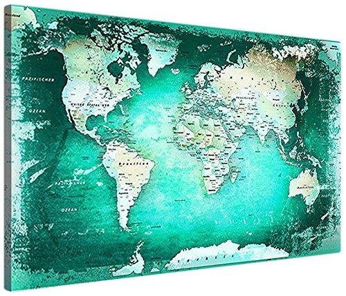 LANA KK Weltkartextuerkisxkork120x80xS, Weltkarte, edel Leinwand Bild Kunstdruck auf Keilrahmen, fertig gerahmt in 120 x 80 cm, 1-teilig, türkis kork