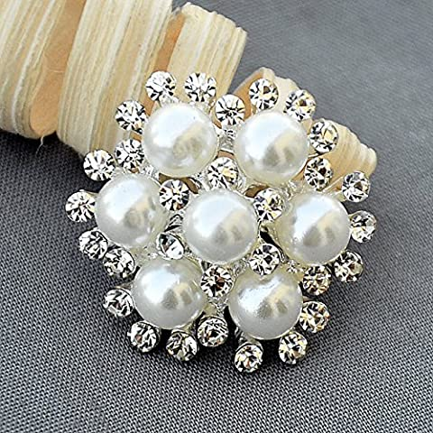 5 Rhinestone Button Embellishment Pearl Crystal Wedding Brooch Bouquet Invitation Cake Decoration Hair Comb Shoe Clip
