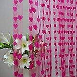Amlaiworld Linea cute cuore nappa stringa tenda porta finestra Camera Valance 200cm * 100 cm (Rosa caldo)