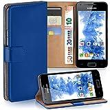 moex Samsung Galaxy S2 | Hülle Blau mit Karten-Fach 360° Book Klapp-Hülle Handytasche Kunst-Leder Handyhülle für Samsung Galaxy S2 / S2 Plus SII Case Flip Cover Schutzhülle Tasche