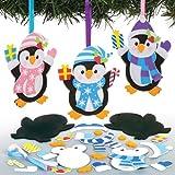 """Mix & Match-Bastelset für Deko-Anhänger """"Pinguin"""" für Kinder zum Basteln, Verzieren und Gestalten – Kreatives Bastelset für Kinder zu Weihnachten (6 Stück)"""