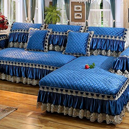 J&dssu fodera per divano peluche,copertura di protezione spessa trapuntato antiscivolo resistente alle macchie per animali cane divano componibile copertina-1 pezzo-blu 60x150cm(24x59inch)