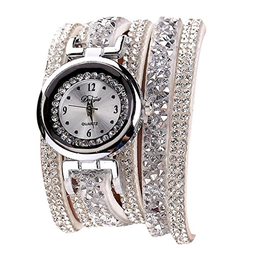 Warmingecom Fashion Dress Luxury Crystal Leather Quartz Bracelet Watch (White)