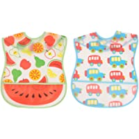 Yellow Bee Easy Clean Bib with Crumb Collector, Red, Blue - Pack of Two