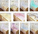 5-6 tlg Baby Bettset mit 420 cm rundum Nestchen Himmel Bettwäsche Nestchen Eule Safari Sterne D9 6 tlg